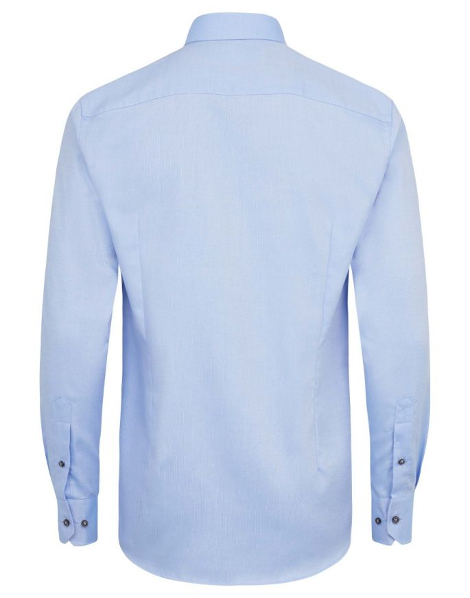 Slim Fit | Woven Textured Long Sleeve Shirt- Light Blue