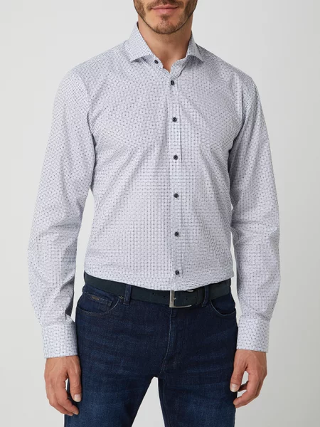 Slim Fit | Micro Pattern Long Sleeve Shirt- White