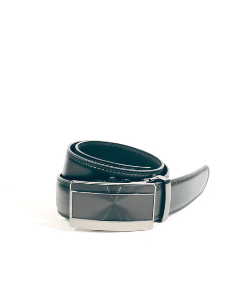 Men's Sliding Buckle Leather Belt- Black