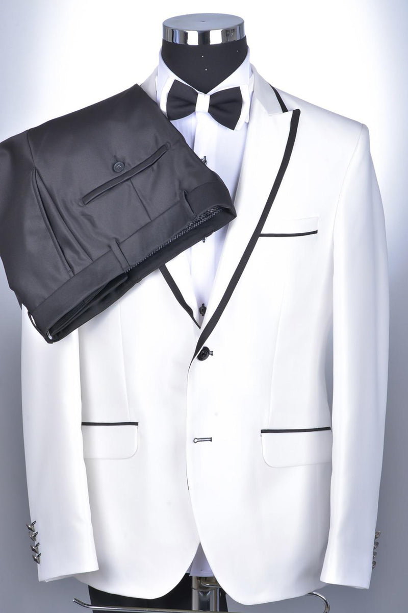 Peak Lapel Trim Tuxedo- White/Black