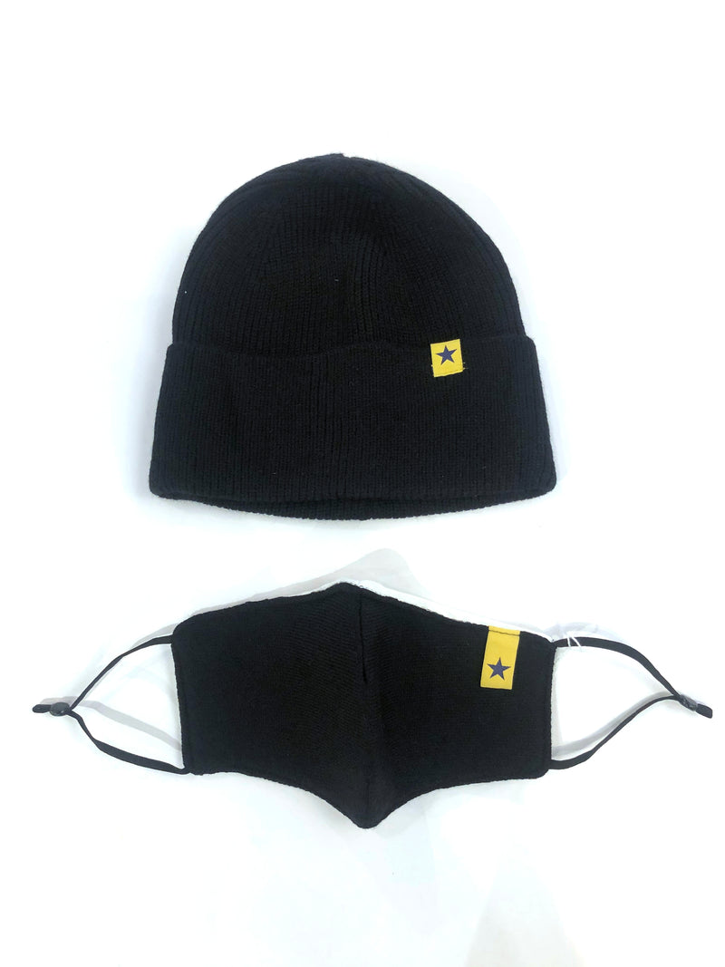 Knit Beanie with Detachable Face Mask- Black
