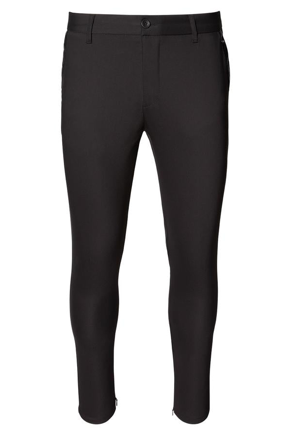 Leather Trim Tapered Trousers- Black