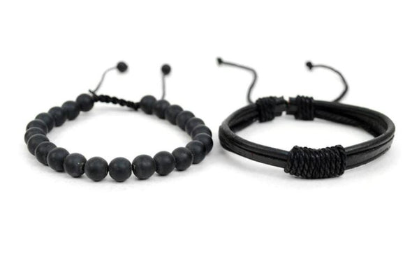 Genuine Leather & Natural Stone Bracelet Set- Black