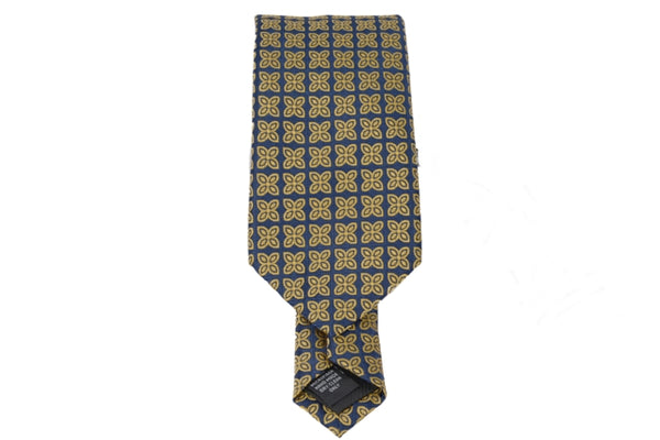Gold Navy Floral Tie