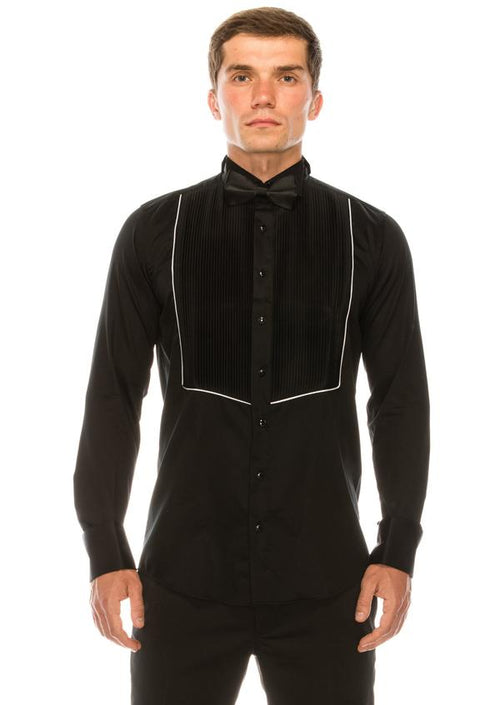 Pleated Wing Tip Collar Tuxedo Shirt- Black