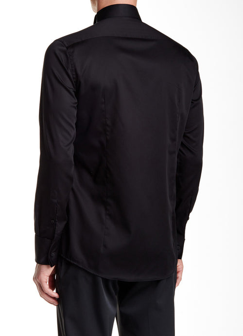 Jewel Button Tuxedo Shirt- Black