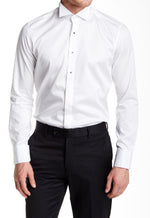 White Jewel Button Tuxedo Shirt- White