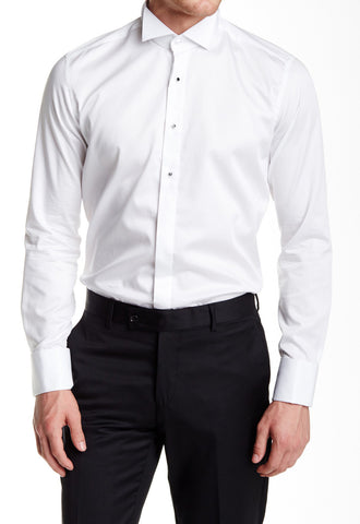 White Jewel Button Tuxedo Shirt