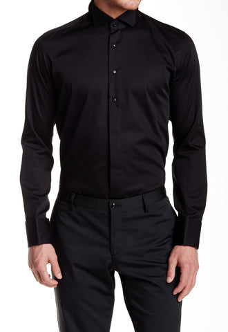 Black Jewel Button Tuxedo Shirt