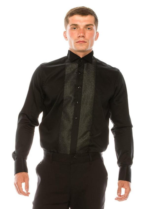 Embroidered Tuxedo Shirt- Black