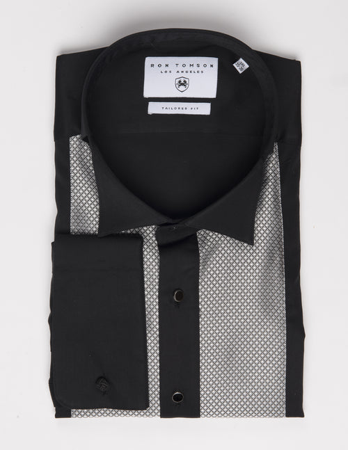 Embroidered Tuxedo Shirt- Black/Grey