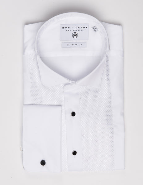 Embroidered Tuxedo Shirt- White/White