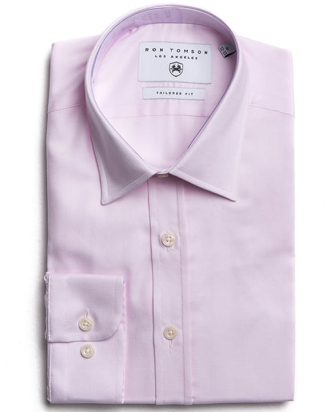 Italian Collar Textured Dress Shirt - Pink