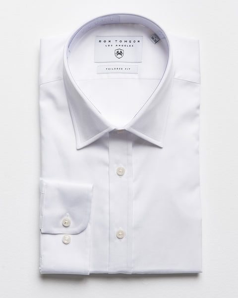 Textured Italian Collar Dress Shirt - White