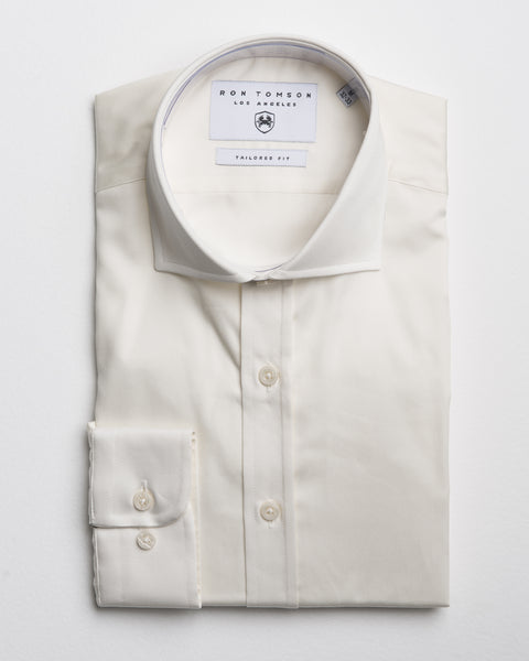 Spread Collar Dress Shirt - Beige