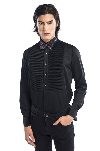 Diagonal Pleated Wing Tip Collar Shirt - Black