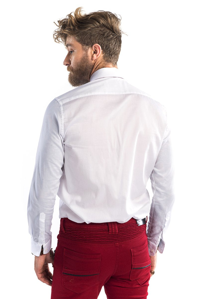 Textured Collar Pin Tuxedo Shirt - White