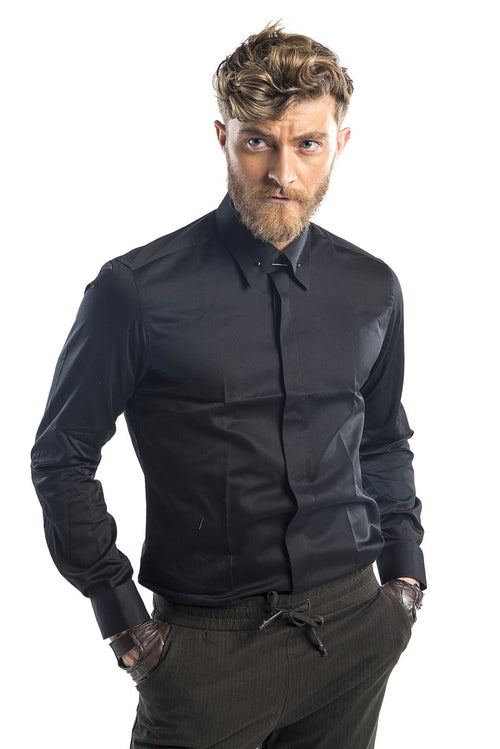 Collar Pin Tuxedo Shirt - Black
