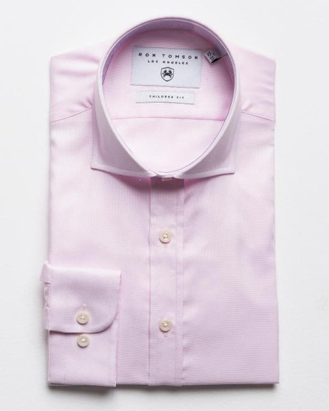 Spread Collar Fitted Dress Shirt - Dark Pink