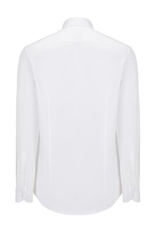Hidden Placket Dress Shirt- White