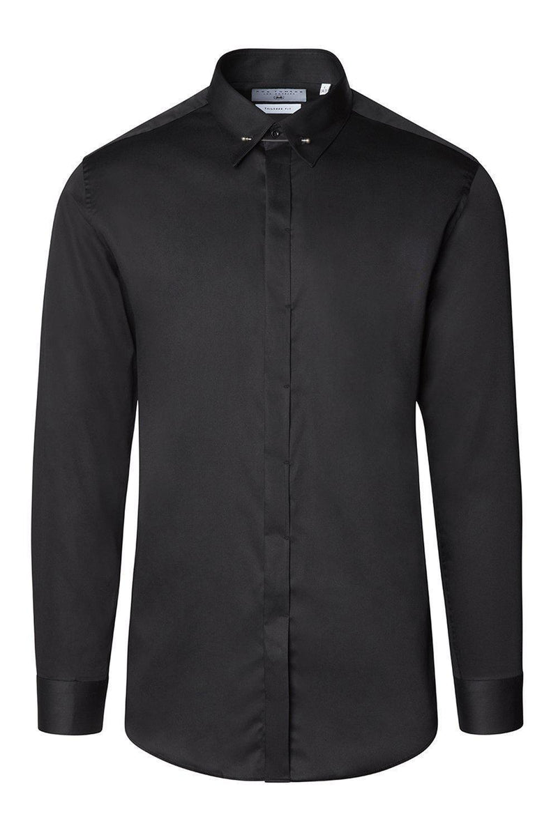 Hidden Placket Collar Pin Tuxedo Shirt - Black