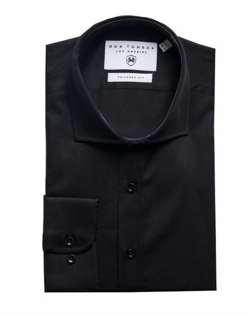 Spread Collar Dress Shirt- Black