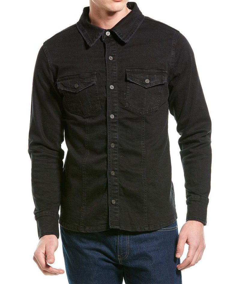 Tailored Fit Stretch Denim Shirt- Black