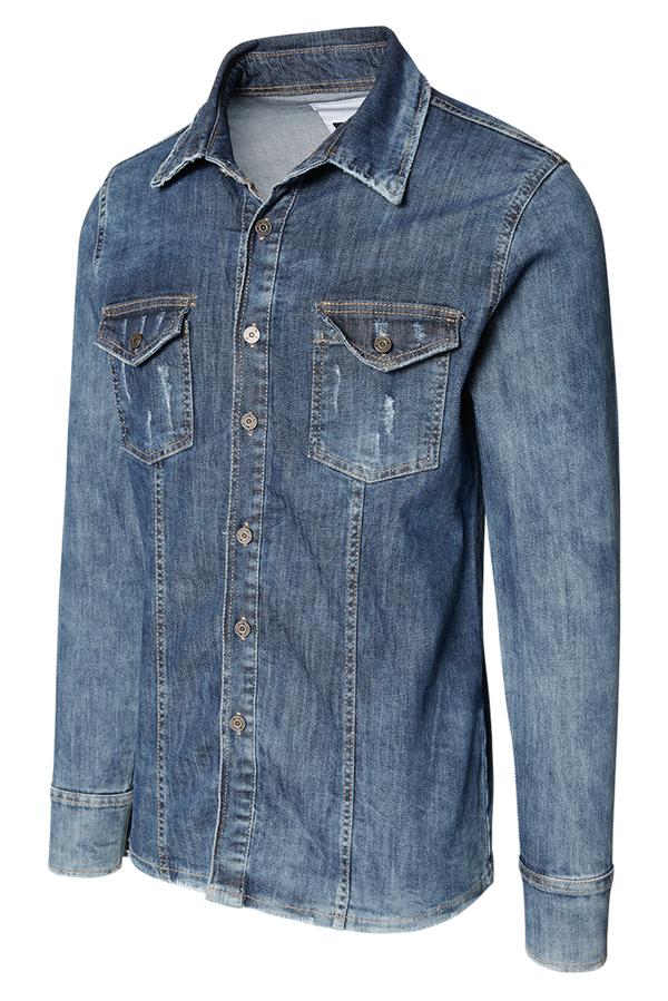 Tailored Fit Stretch Denim Shirt- Navy