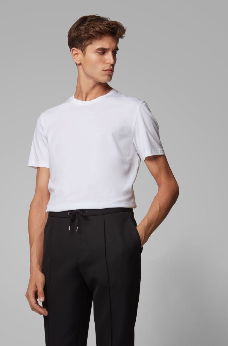 HUGO BOSS | Soft Cotton Jersey Crewneck T-Shirt- White