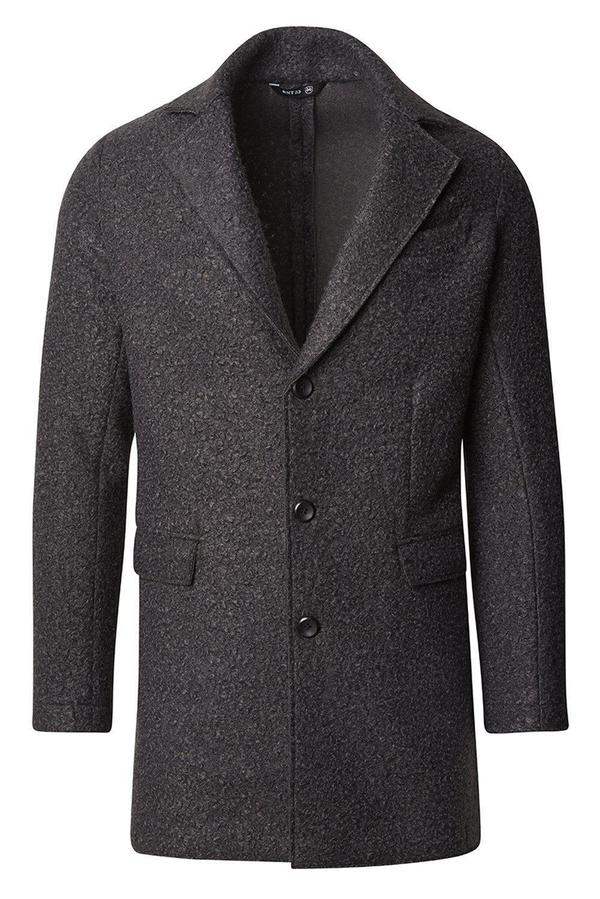 Three Button Boucle Overcoat- Anthracite