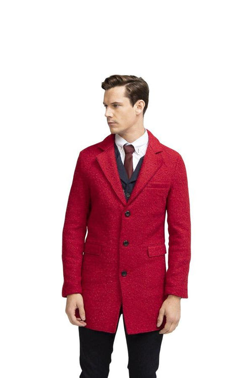 Three Button Boucle Overcoat- Red