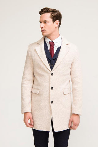 Three Button Boucle Overcoat- Stone