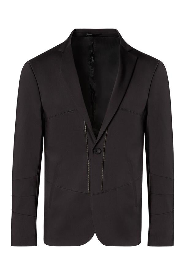 Zip Detail Single Button Blazer- Black