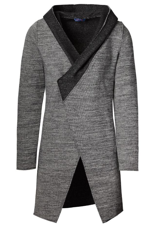 Unisex | Contrast Hooded Snap Front Cardigan- Anthracite