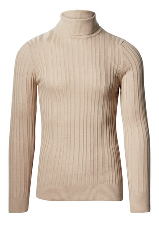 Roll Neck Ribbed Sweater - Beige