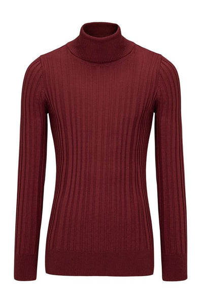 Roll Neck Ribbed Sweater - Burgundy