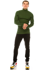 Roll Neck Ribbed Sweater- Green
