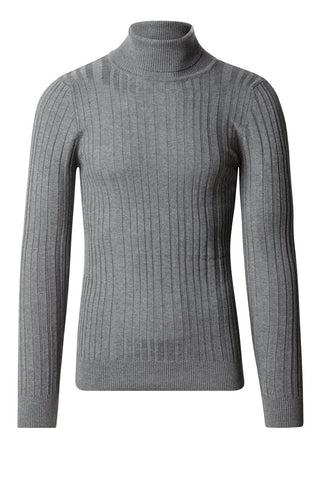 Roll Neck Ribbed Sweater - Grey