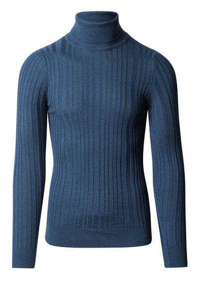 Roll Neck Ribbed Sweater - Light Blue