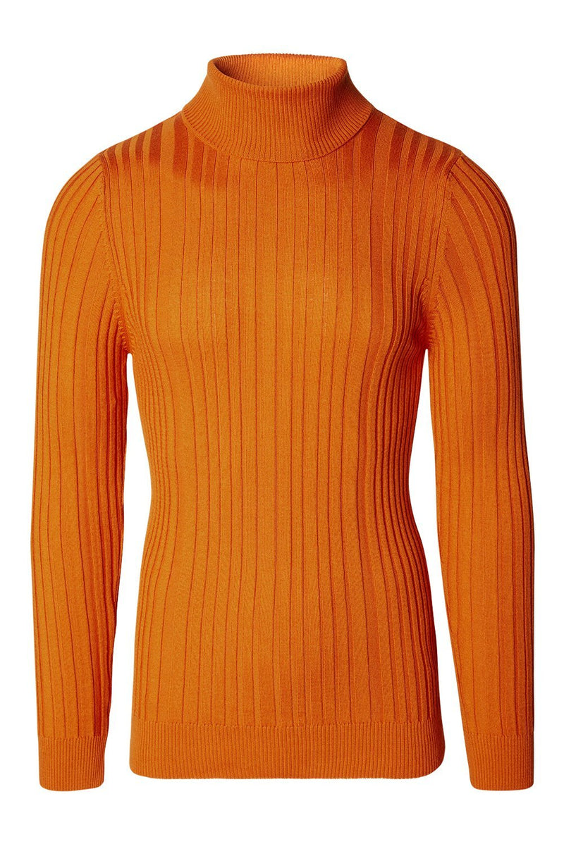 Roll Neck Ribbed Sweater - Mustard
