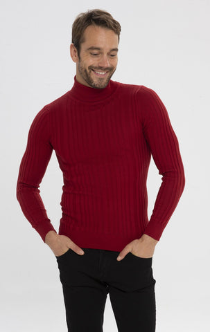 Roll Neck Ribbed Sweater - Red