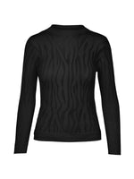 Elna Sheer Patterned Knit Pullover- Black