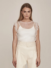 Greta Sheer Top- Creme