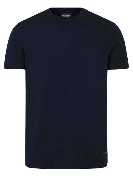 Stretch Cotton Crewneck T-shirt- Navy