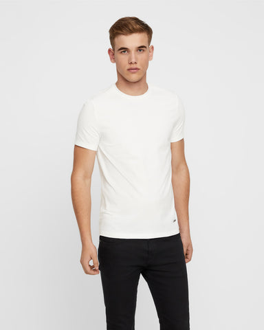 Stretch Cotton Crewneck T-shirt- White