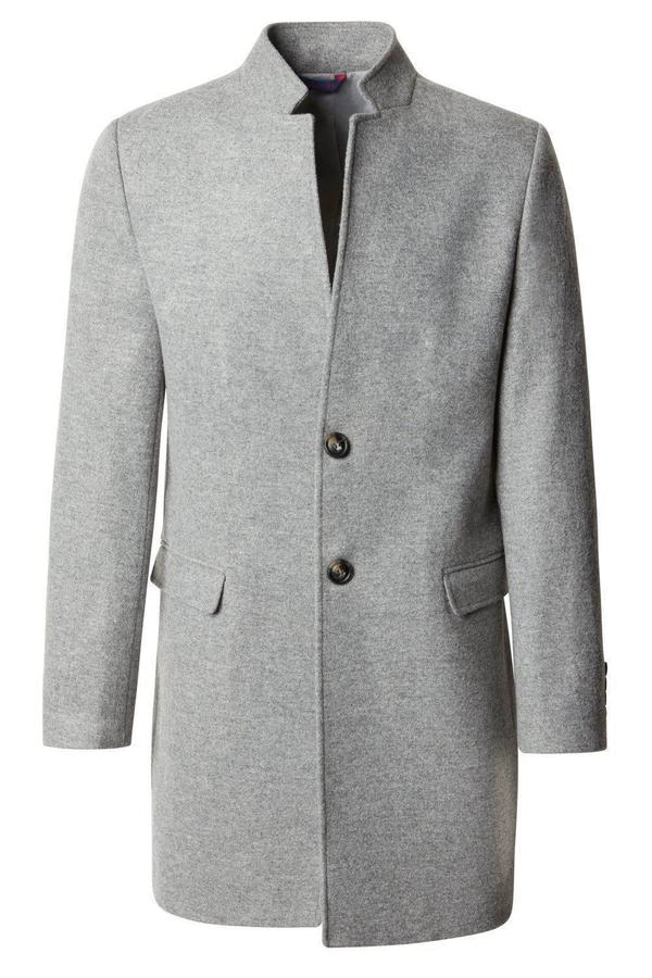 Tailored High Collar Overcoat- Grey