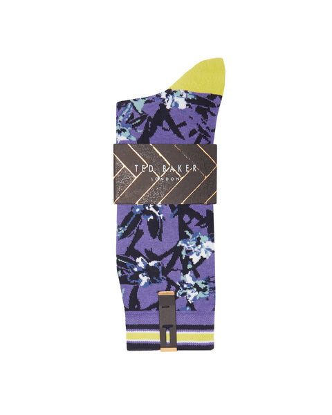 Ted Baker | Cotton Blend Floral Leaf Socks- Blue