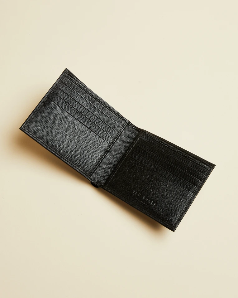 Woodgrain Leather Bifold Wallet- Black