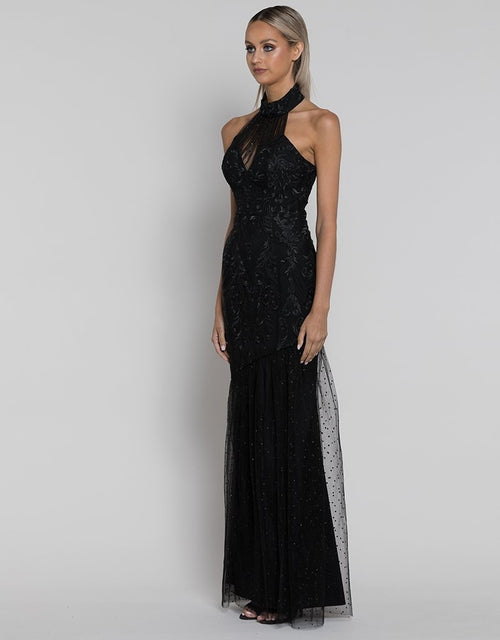 High Neck Embroidered Gown- Black