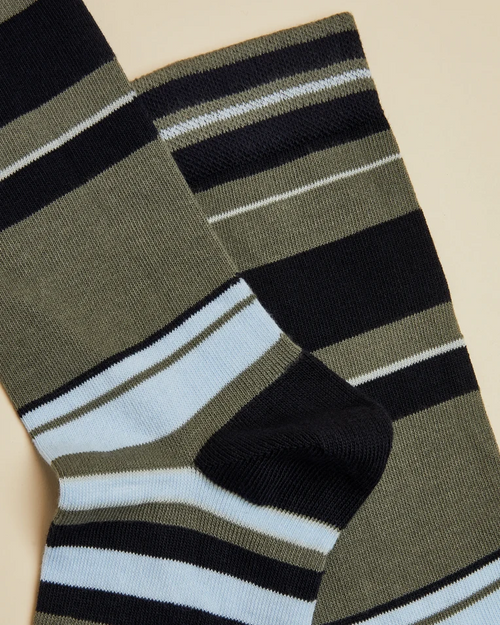Cotton Striped Socks- Khaki
